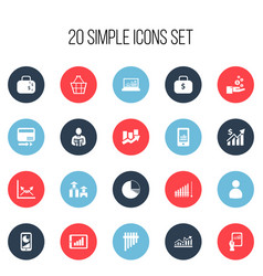 Set of 20 editable statistic icons includes vector