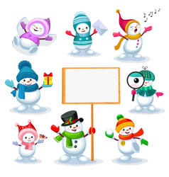 set of cute snowmen in various poses vector image