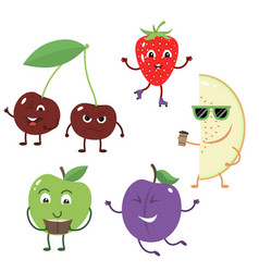 set of funny characters from fruit vector image