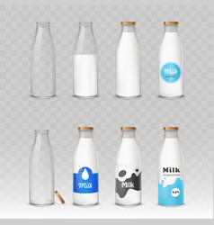 set of of glass bottles with vector image