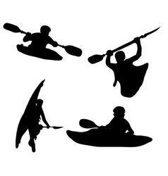 Silhouette kayakers vector