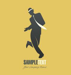Silhouette of man dancing jazz-02 vector