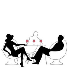 Silhouettes of group of three drinking red wine vector