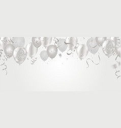 silver balloons confetti and ribbons flag vector image