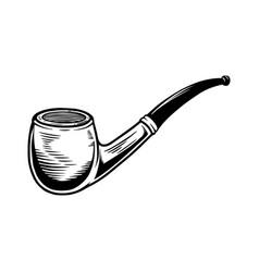 smoking pipe design element for logo label sign vector image