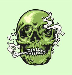 smoking weed green skull hand drawn vector image