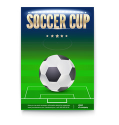 soccer cup poster template with place for vector image