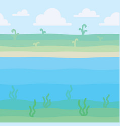 Soft nature landscape shore with some plants and vector