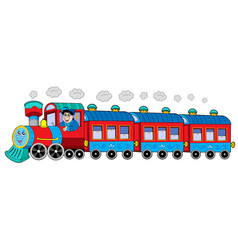 Steam locomotive with engine driver and wagons vector