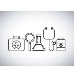Stethoscope medical kit lupe flask medicine design vector