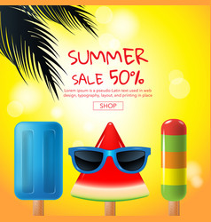 Summer sale cartoon ice cream face layout vector