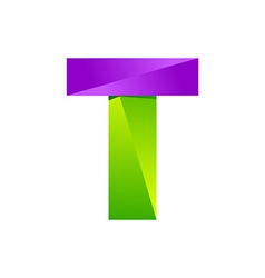 T letter one line colorful logo design template vector image