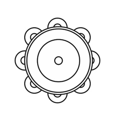 Tambourine icon in outline style vector