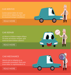 Three banners with doctor helping car character vector
