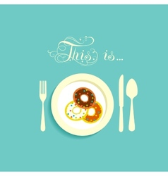 Three donut on a plate vector