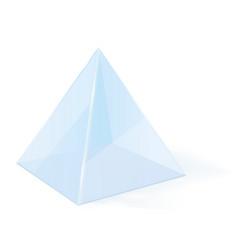 Transparent pyramid 3d glass blue geometric shape vector