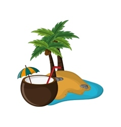tropical island and coconut cocktail icon vector image