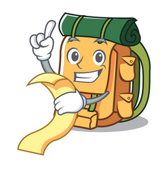 With menu backpack mascot cartoon style vector
