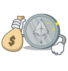With money bag ethereum coin character cartoon vector