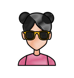 woman with sunglasses profile vector image