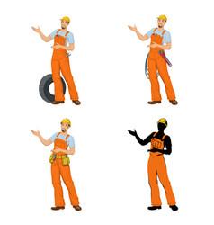 workers in overalls vector image