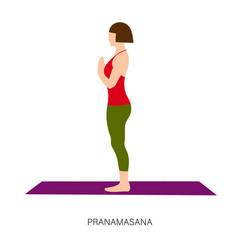 Yogi woman in pranamasana or prayer pose vector
