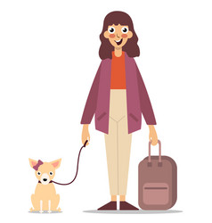young girl with suitcase and dog vector image