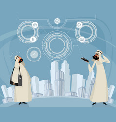 arab men and telephone technology vector image