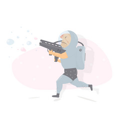 astronaut with gun character humor style vector image