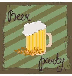 Beer party Retro of beer free label vector image