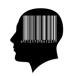 Head of a man with a barcode vector image