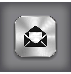 Mail icon - metal app button vector image vector image