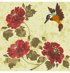 old dirty asian wallpaper with flowers and birds s vector image vector image