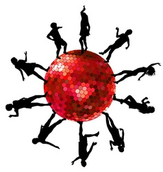 Silhouettes of people dancing on a disco ball vector image