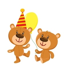 Cute teddy bear characters in birthday cap and vector image