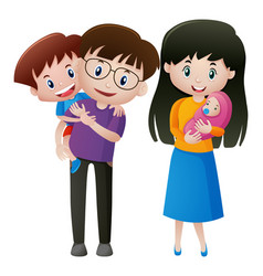 father and mother with two kids vector image