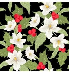 Mistletoe holly berry Christmas rose pattern black vector image