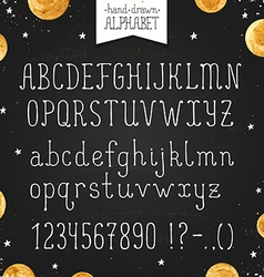 Narrow hand drawn font vector image