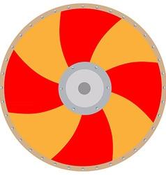 Orange viking shield vector image vector image
