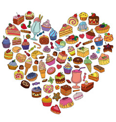 set of different sweets in the shape of heart vector image