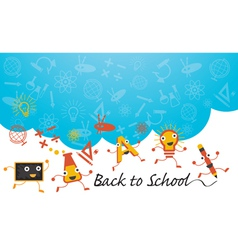 Education Characters Run Back to School Background vector image vector image