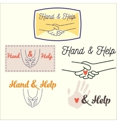 heand and help set vector image vector image