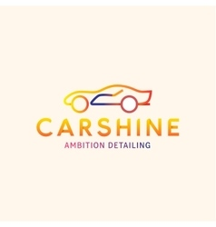 Logo Machine Car shine line outline mark vector image