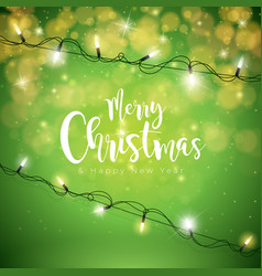 merry christmas on green vector image