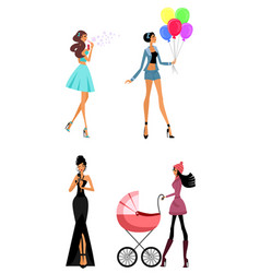 modern women in different situations vector image vector image