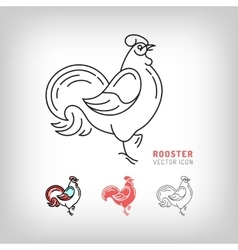 Rooster icons black and color thin line vector image vector image