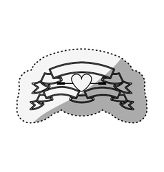 sticker silhouette with set labels and heart vector image vector image