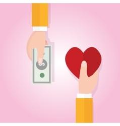money buying love happiness heart shape symbol vector image vector image