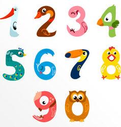 Numbers like birds vector image