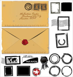 Old envelope and postage stamp set vector image vector image